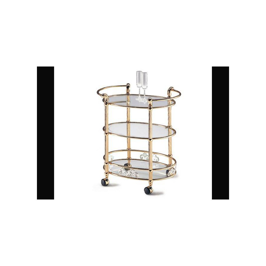 Oval serving trolley triple trays brass Napoli - Bright brass with silvers decors, transparent glass etching