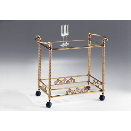 Serving trolley brass Napoli - Old bronze brass, tray transparent glass