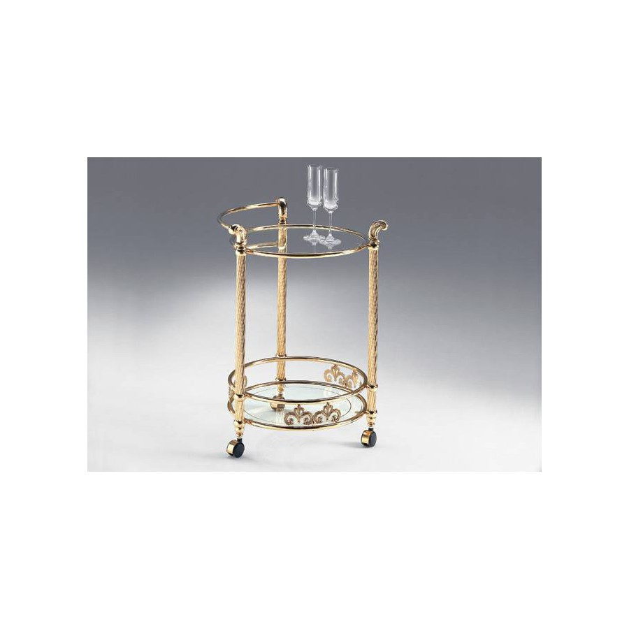Round serving trolley brass Napoli - Bright brass, trays transparent glass etching