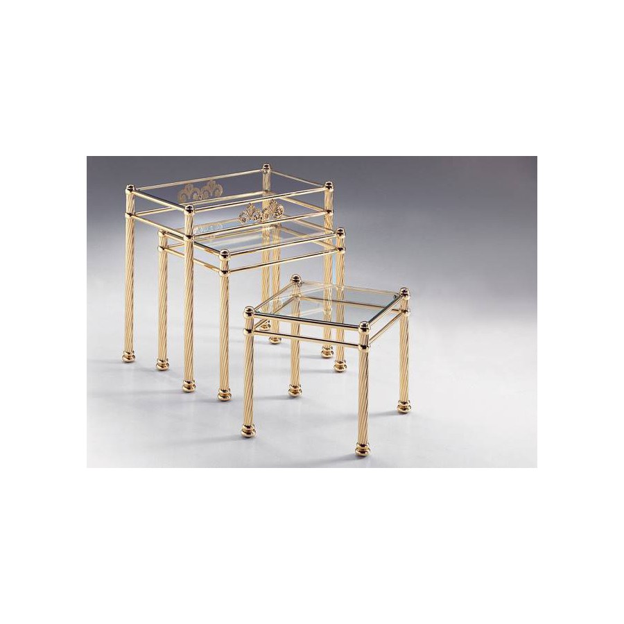 Coffee table trundle brass Napoli - Bright brass, trays transparent glass