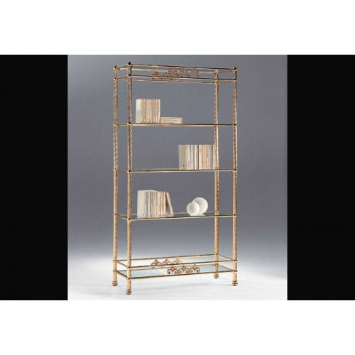 Shelf brass Napoli - Bright brass, trays transparent glass
