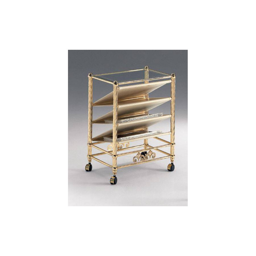 Magazine rack brass Napoli - Bright brass with leatherette ivory, tray transparent glass etching