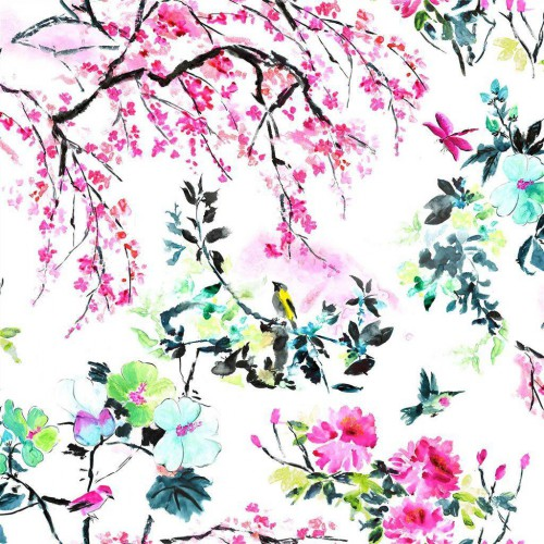 Tissu coton Chinoiserie Flower coloris Peony FDG2303-01 - Designers Guild