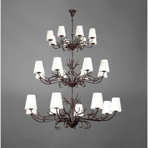 Triple bronze chandelier ALTESSE - Brown bronze