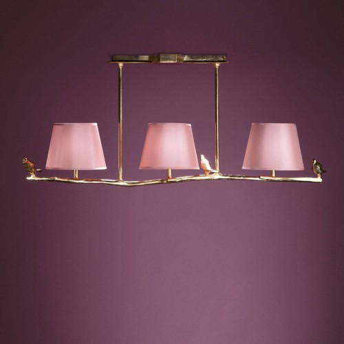 Suspension en Bronze PLUME - Bronze dore