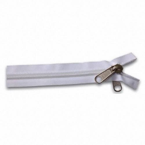 Fermeture éclair YKK spirale double tirette chaine 10 mm blanc longueur 150 cm