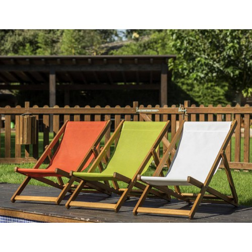 Seat canvas for sunbathing Eva by Balliu orange, green apple and white canvas