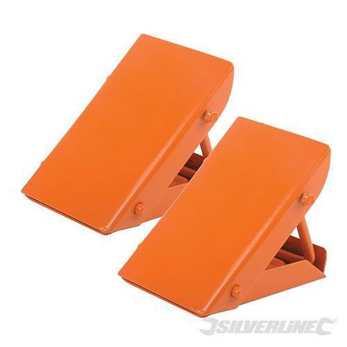 Folding steel wheel chocks - Silverline