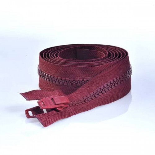 YKK zipper separable double zipper chain 10mm burgundy