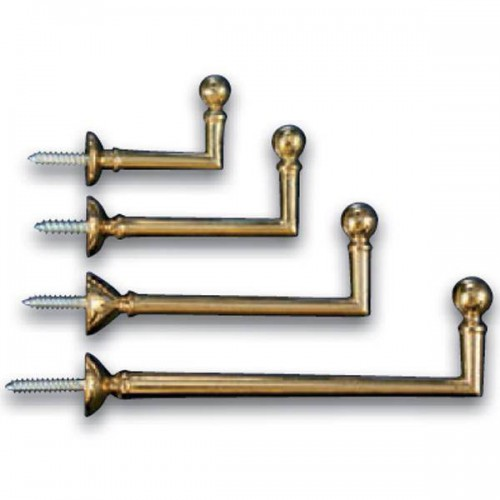 Ball Polished varnished brass hinges for curtains, available in various sizes