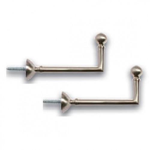 Paire de Gonds Boule Nickel mat pour rideaux, longueur 80 mm