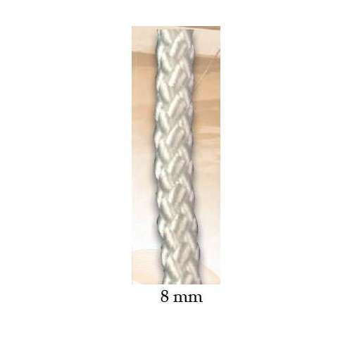 Halyard white polyester 8 mm