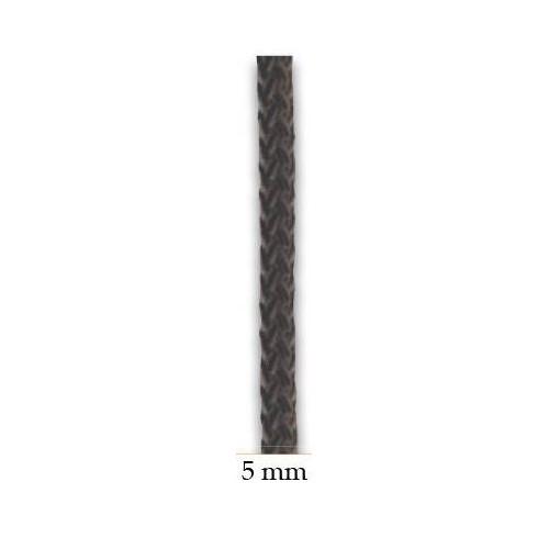 Halyard black polyester 5 mm