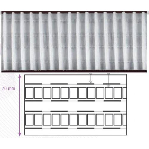 Ruban fronceur blanc 70 mm 4 cordons à amplitude variable