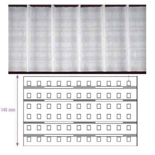 Ruban fronceur blanc MULTIPOCHES 140 mm 4 cordons à Pli automatique