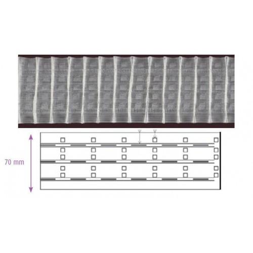 Ruban fronceur transparent MULTIPOCHES 70 mm 3 cordons à pli automatique