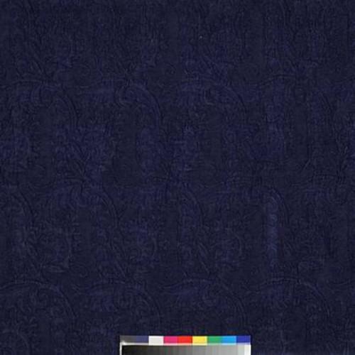 Tissu Damas de Dominique Kieffer coloris Bleu de prusse 17116-006