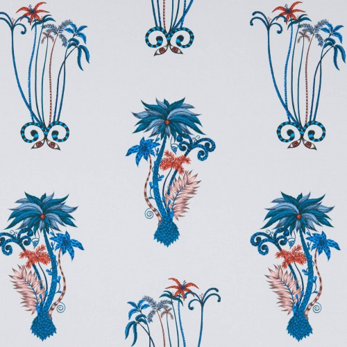 Tissu Palms Jungle de Clarke & Clarke coloris Blue F1110-01