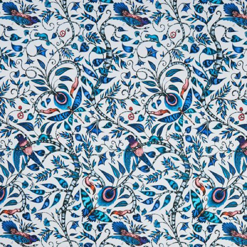 Tissu Rousseau de Clarke & Clarke coloris Bleu F1113-01