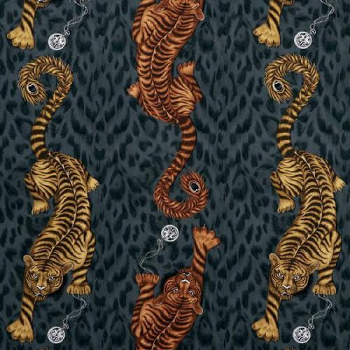 Tissu Tigris de Clarke & Clarke coloris Flamme F1114-01