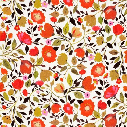 Tissu Red Tulips Linen de Clarke & Clarke coloris L'automne F0827-01