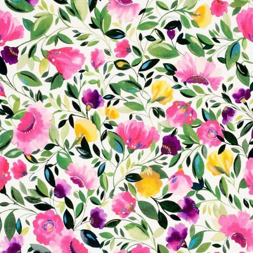 Tissu Rosina Linen de Clarke & Clarke Fuchsia F0829-01