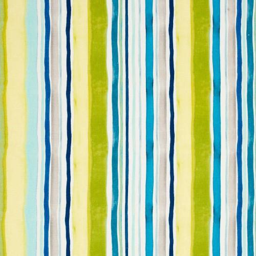 Tissu Sunrise Stripe Linen de Clarke & Clarke coloris Aqua/Citrus F0831-01
