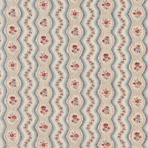 Tissu Greuze de Le Manach coloris Bleu rouge L4216-003