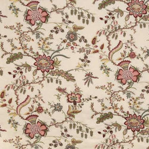 Tissu Coromandel-Broderie de Braquenié coloris Fond crème B7561001