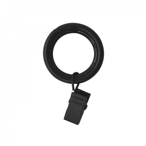 Anneaux pinces pour tringle à rideaux collection Tantulo de Houlès coloris Noir mat 16 mm 66381-17