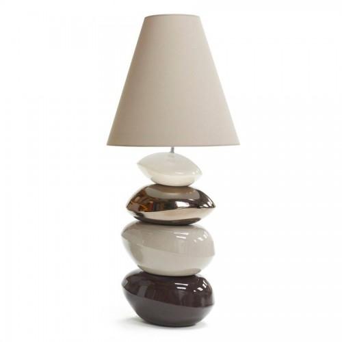 Lampe Galet Maxi coloris Blanc Argent Dune et Chocolat - François Châtain