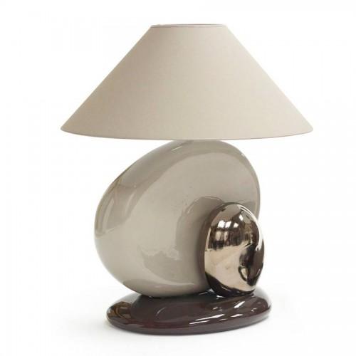 Lampe Guric Grand Modèle coloris corde, argent et chocolat - François Châtain