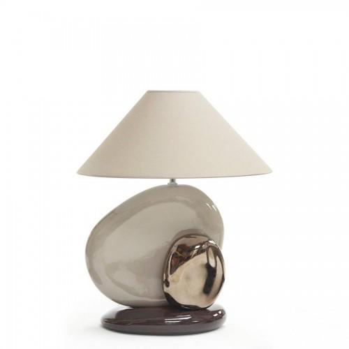 Lampe Guric Moyen Modèle coloris corde argent et chocolat - François Châtain