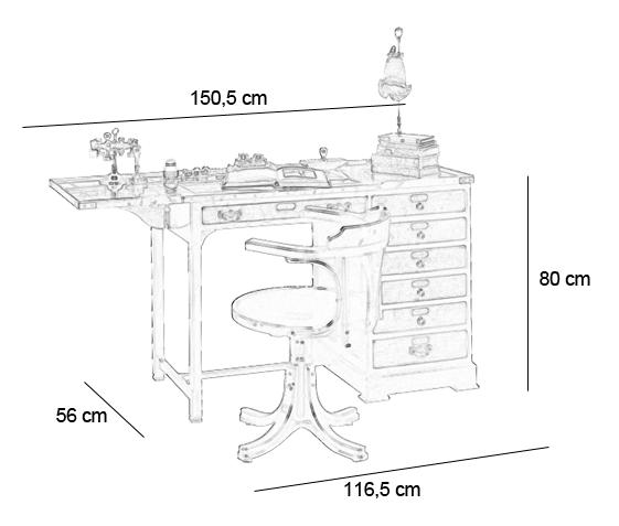 Bureau d horloger f lix monge for Dimension meuble bureau
