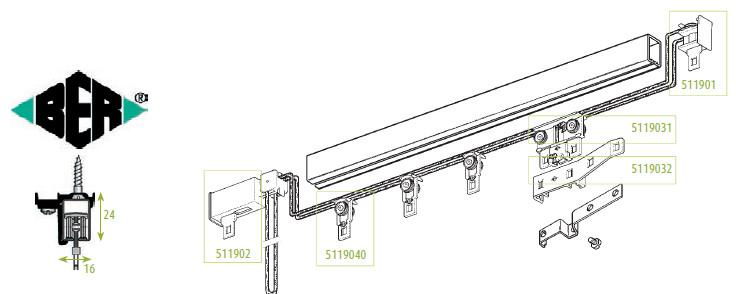 tringle rails chemin de fer 24 x 16 pour 2 rideaux