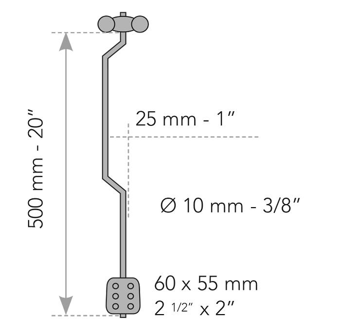 Dimensions Kit Bocama mécanisme tringle pour porte avec entourage moulure de Houlès